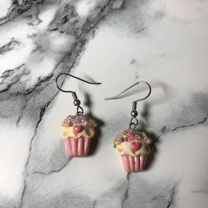 Jewelry - Pink Glitter Cupcake Earrings